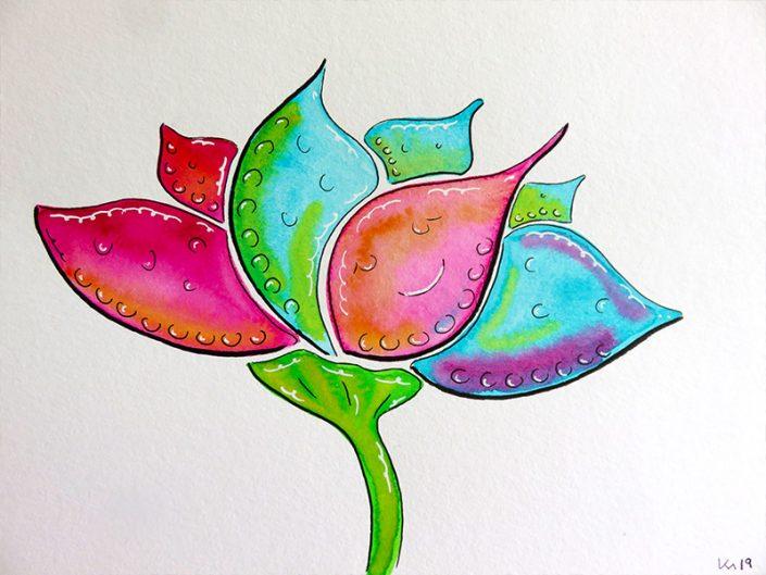Blume türkis magenta Aquarell Fineliner