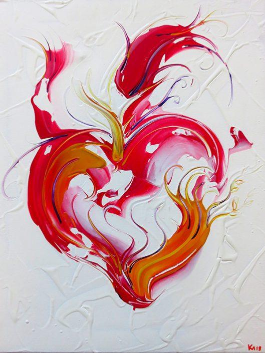 Flammendes Herz Acryl Spachtel