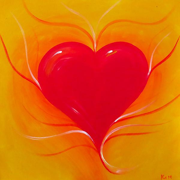 Herz rot auf gelb, Acryl auf Leinwand