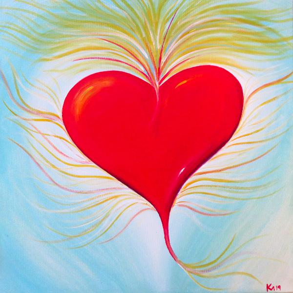 Herz auf Himmel Acryl Leinwand