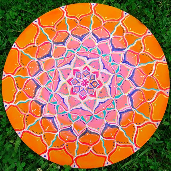 Mandala orange pink Acryl HDF