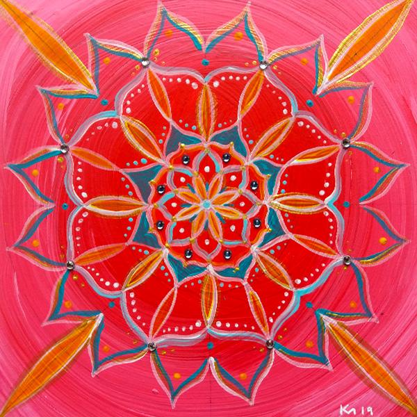 Mandala pink Acryl Holztafel