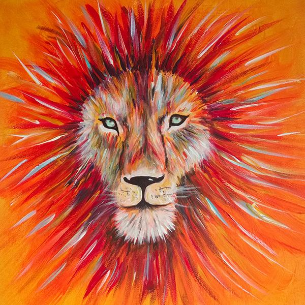 Löwe Krafttier Acryl auf Leinwand